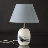 Holmegaard Sakura table lamp, oval with blue stribes, without shade 