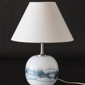 Holmegaard Sakura lamp, blue, round, large 