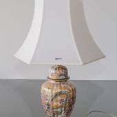 Kutani table lamp with bird