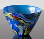 Large Blue Glass Bowl, Hand Blown Glass Art,