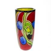Red Glass Vase, 25cm, Glass Art, Hand Blown,