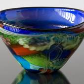 Lars Glass Bowl, Blue with green colours, Dia: 30cm, Hand Blown,