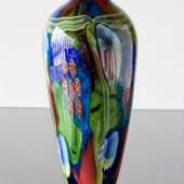 Large Glass Vase on foot. Blue with green and red, 41cm, Hand Blown,