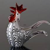 Rooster, Glass, white w/black, 16cm, Glass Sculpture, Glass Art,