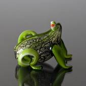 Happines Glass Frog with Green legs, Hand Blown Glass Art,