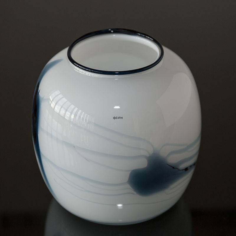 Holmegaard Vase Atlantis With Blue Decoration No 4344804 Dph