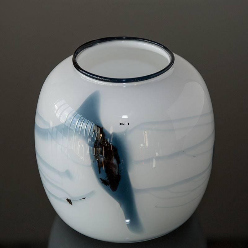 Holmegaard Vase Atlantis With Blue Decoration No 4344805 Dph