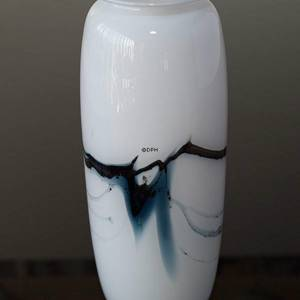 Holmegaard vase Atlantis with blue decoration