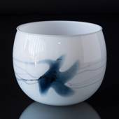 Holmegaard bowl/flower pot (medium size) Atlantis with blue decoration