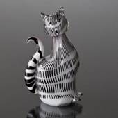 Cat Figurine, Glass Art White with Black, Hand Blown,