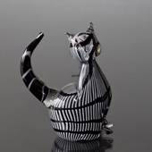Cat, Black and White Glass, Glass Art Figurine, Hand Blown,