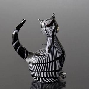 Cat, Black and White Glass, Glass Art Figurine, Hand Blown, | No. 4346 | DPH Trading
