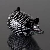 Glass Mouse Figurine, Black and White striped, Hand Blown Glass Art,
