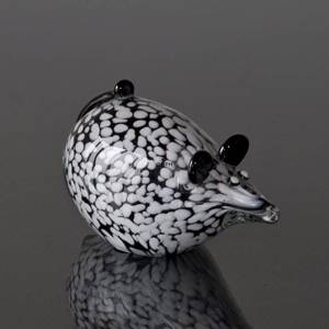 Lying Glass Mouse, Black and White spotted,Hand Blown Glass Art, | No. 4372 | DPH Trading
