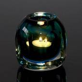 Bluish Green Tealight, Glass Candleholder, Hand Blown Glass Art,