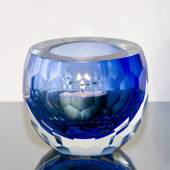 BlueTealight Candle Holder, Glass with cut edge, Hand Blown Glass,