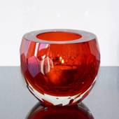 Red Tealight Candle Holder, Glass with cut edge, Hand Blown Glass,