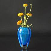 Cheap Oval Cobalt Blue Glass Vase, Hand Blown Glass Art,