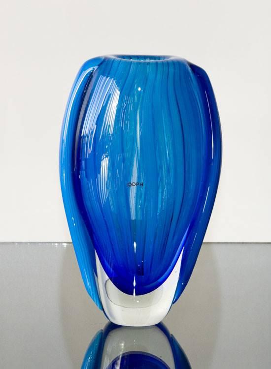 Cheap Oval Cobalt Blue Glass Vase Hand Blown Glass Art No 4425