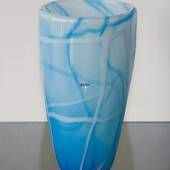 Glass Vase for large bouquet of flowers, Blue with White, Hand Blown Glass