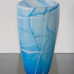 Glass Vase for large bouquet of flowers, Blue with White, Hand Blown Glass | No. 4440 | DPH Trading