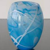 Glass Flowerpot, or vase, Blue with White contrast, Hand Blown Glass Art,