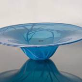 Cheap Glass Dish, Blue with White, Hand Blown Glass Art,
