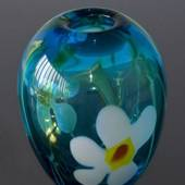 Large Round Glass Vase, Blue with flower, Hand Blown Glass Art,
