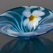 Large Dish, Blue with Flowers, Hand Blown Glass,