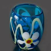 Glass Vase, or Flowerpot, Glass Art Flower pot, Blue with flowers, Hand Blo...