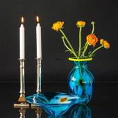 Large Cheap Glass Vase, Blue with Yellow edge, Hand Blown Glass Art,
