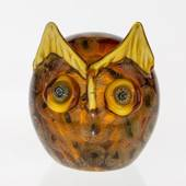 Student Owl, Symbol of Wisdom, Glass Sculpture, Yellow Colours, 13cm, Hand ...