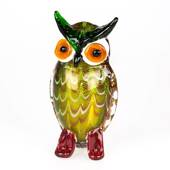 Glass Owl, Multi Colours, 20cm. (The Owl Is Symbol of Wisdom) Hand Blown Gl...