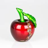 Red Glass Apple, 15cm, Hand Blown Glass Art,