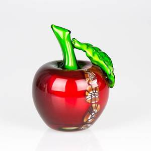 Red Glass Apple, 15cm, Hand Blown Glass Art, | No. 4475 | DPH Trading