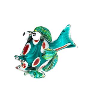 Glass fish Figurine, Funny Green Fish with Spots, Hand Blown, | No. 4488 | DPH Trading