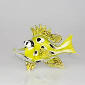 Funny Glass fish, yellow fish with Spots, Hand Blown,