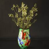 Large Green Glass Vase, (yellow inside) 33cm, Hand Blown Glass,