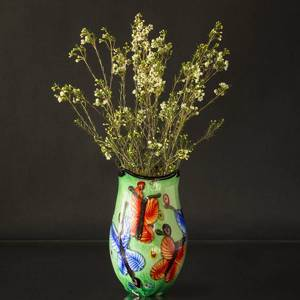 Large Green Glass Vase, (yellow inside) 33cm, Hand Blown Glass, | No. 4493 | DPH Trading