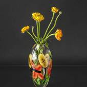 Glass Vase, Clear glass with flower decor, 28cm, Hand Blown Glass,