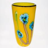 Large Yellow Glass Vase with flowers, 35cm, Hand Blown Glass,