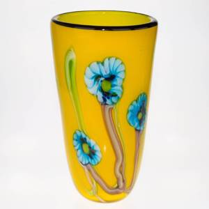 Large Yellow Glass Vase with flowers, 35cm, Hand Blown Glass, | No. 4497 | DPH Trading