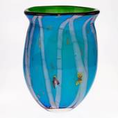 Large Glass Vase, Turquoise with trees and butterflies, 31cm, Hand Blown Gl...