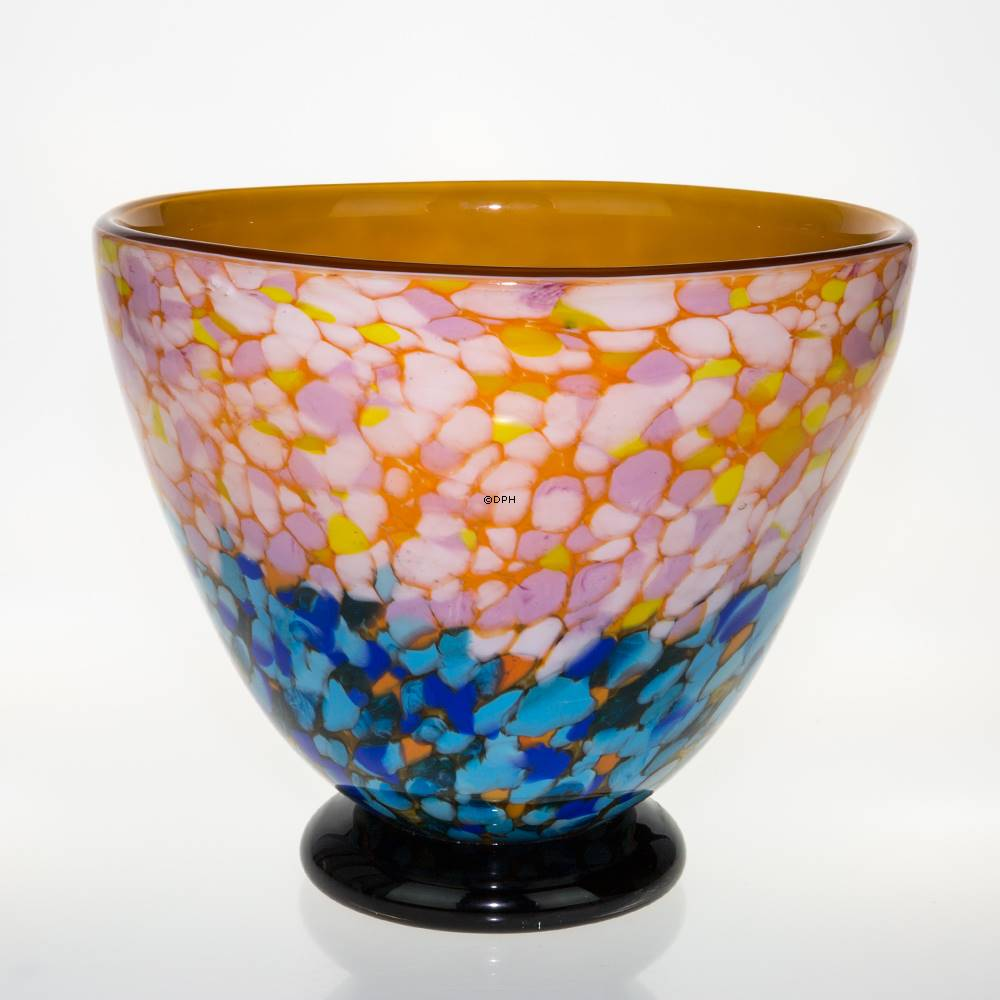 Large Glass Bowl With Light Blue Bottom 24x27cm, Glass Art