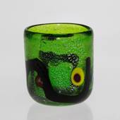 Green Tealight Candle Holder/cup/vase, 8x10cm, Hand Blown Glass,