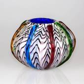 Round Glass Vase, Opal with decoration 22x17cm, Hand Blown Glass,