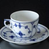 Blue fluted tableware Plain coffee cup and saucer Bing & Grondahl