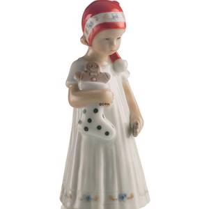 Else Girl in white dress and Christmas stocking, Royal Copenhagen