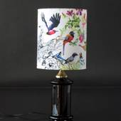 Black table lamp in glass with brass fitting (akin to Holmegaard apoteker)
