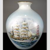 Windjammer vase with no. 2 motif of the ship The Eagle, Bing & grondahl